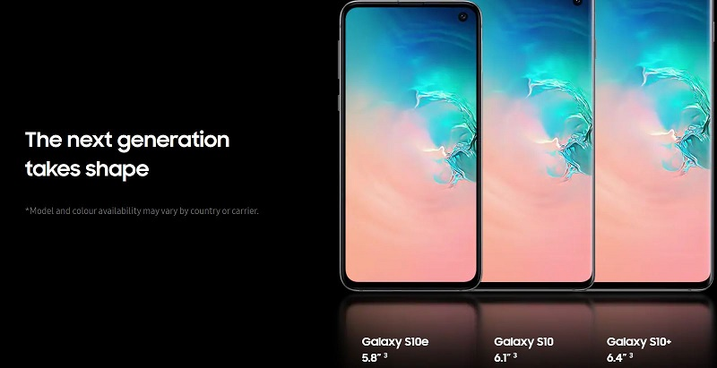Galaxy S10 Scree Size Varieties