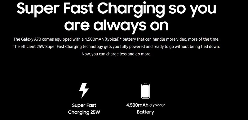 Galaxy A70 Super Fast Charging