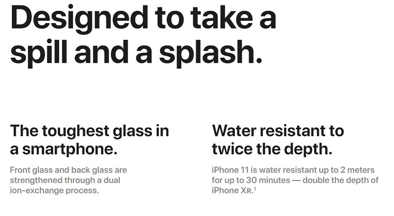 iPhone 11 Water Resistant Capability