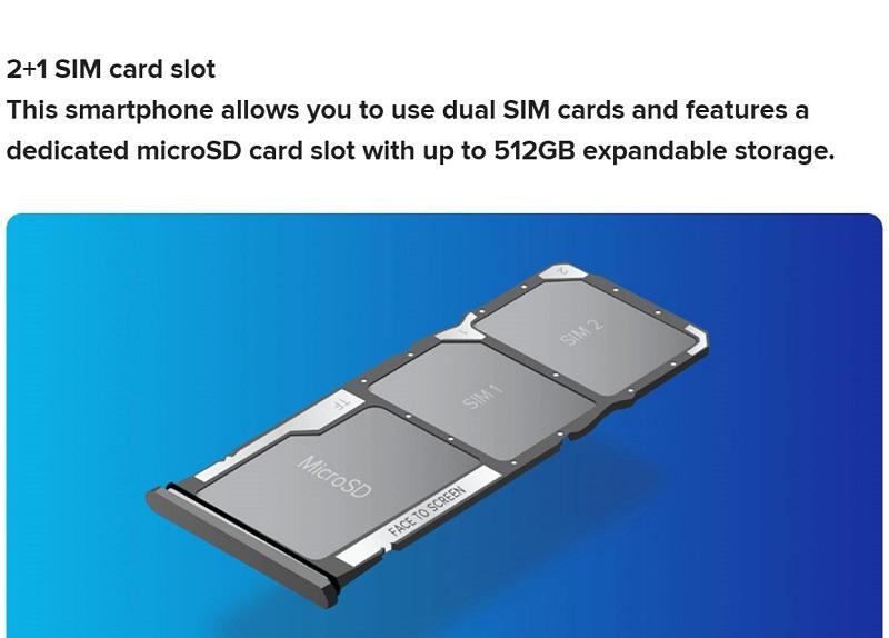 2+1 SIM Card Slot