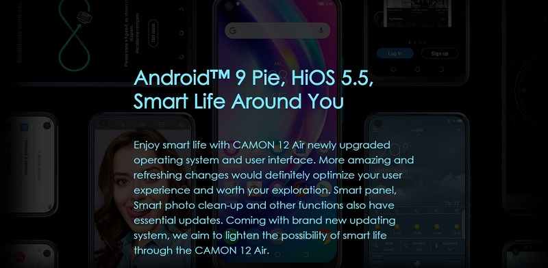 Camon 12 Air Android 9 pie OS