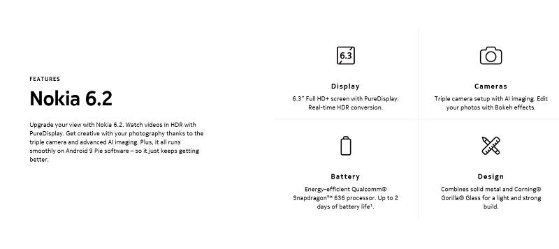 Nokia 6.2 Key Features
