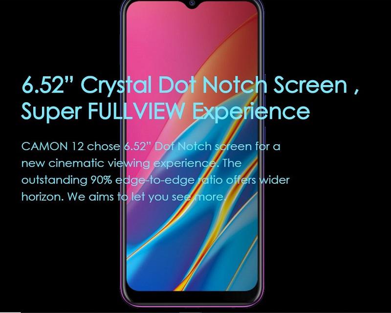Tecno Camon 12 Crystal Dot Notch Screen