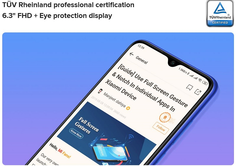 Redmi Note 8T Eye Protection Display