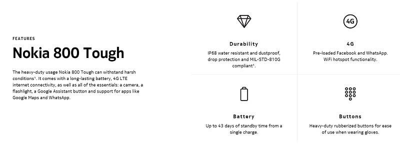 Nokia 800 Tough Features