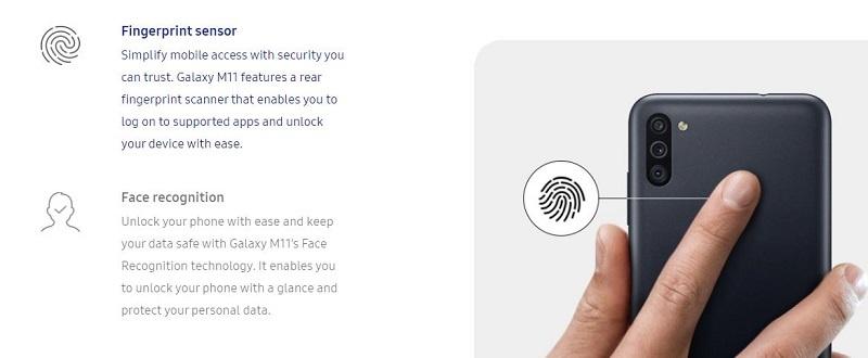 Galaxy M11 Fingerprint Security