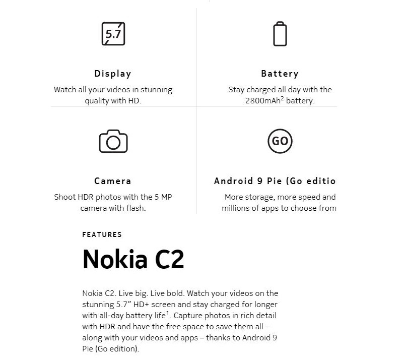 NOkia C2 features summary