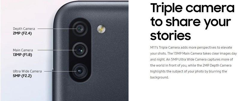 Samsung M11 Triple camera
