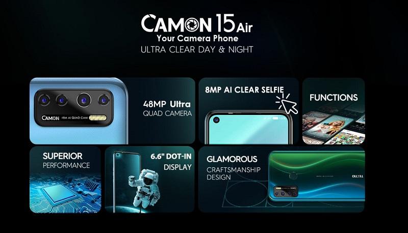 Camon 15 Air Key Specs