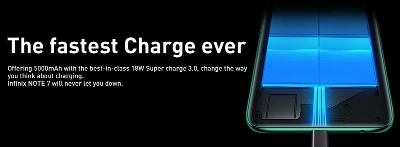 Infinix Note 7 18W fast charging