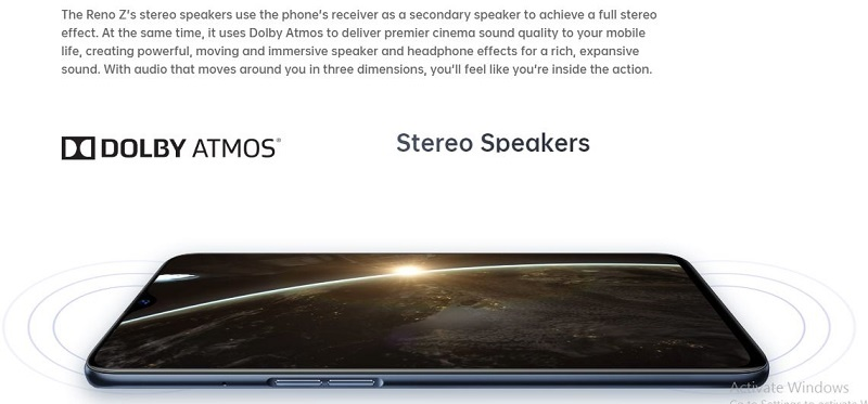 Oppo Reno Z stereo speakers
