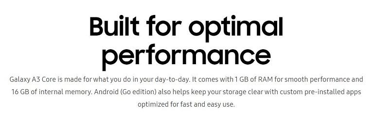 Galaxy A3 Core Optimal Performance